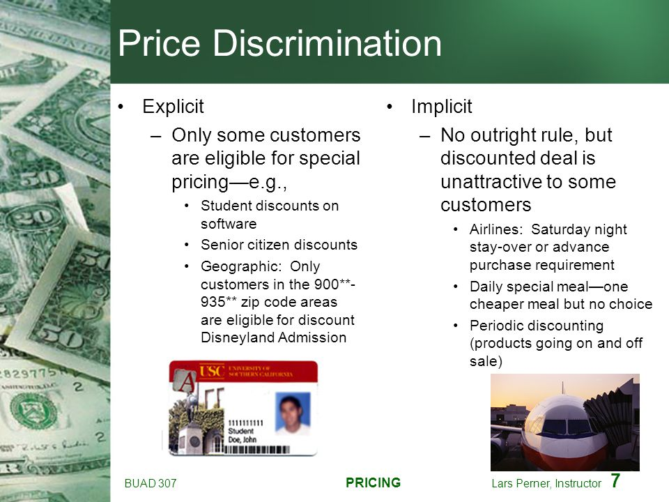 Price Discrimination Explicit