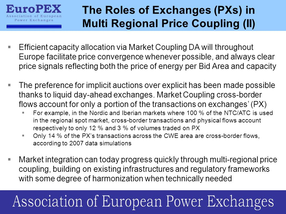 The Roles of Exchanges (PXs) in Multi Regional Price Coupling (II)