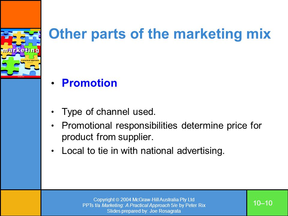 Other parts of the marketing mix