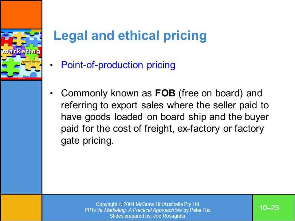 Legal and ethical pricing