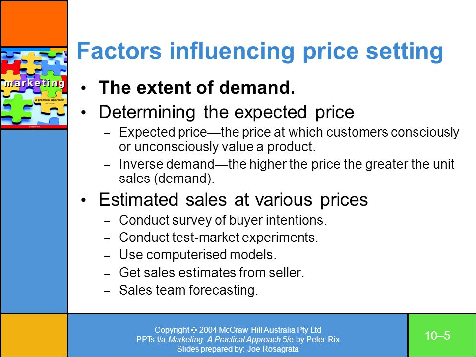 Factors influencing price setting