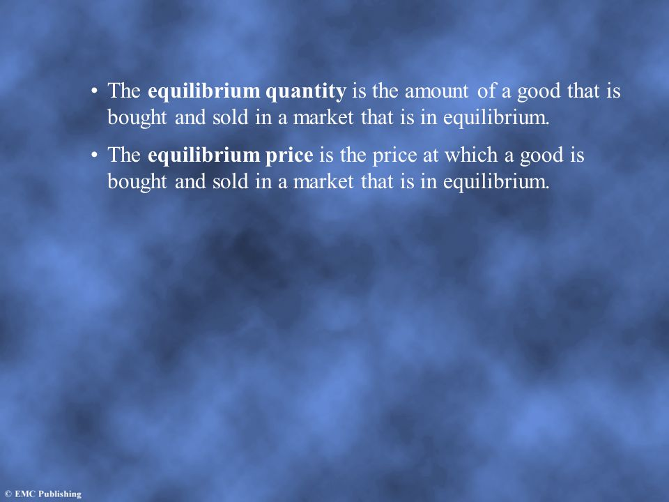 The equilibrium quantity is the amount of a good that is bought and sold in a market that is in equilibrium.