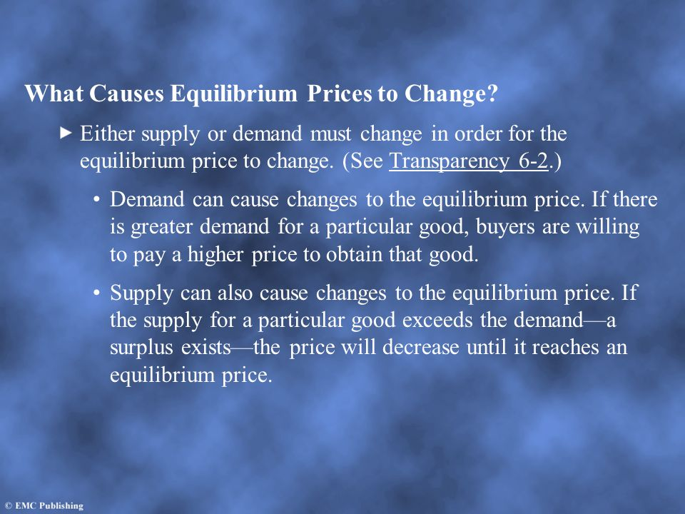 What Causes Equilibrium Prices to Change
