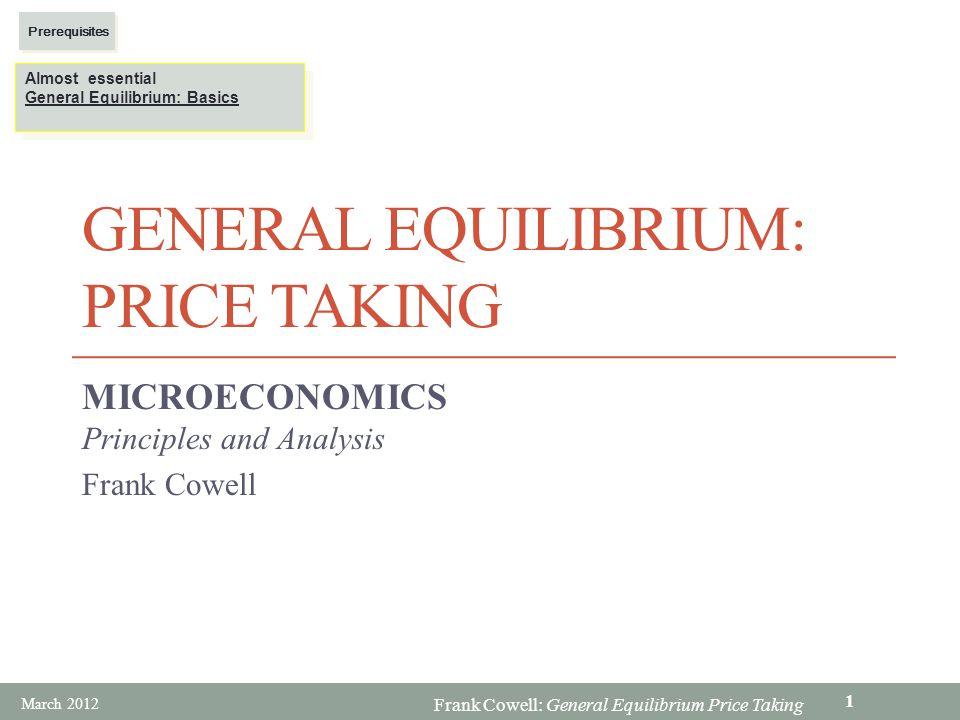 General Equilibrium: price taking