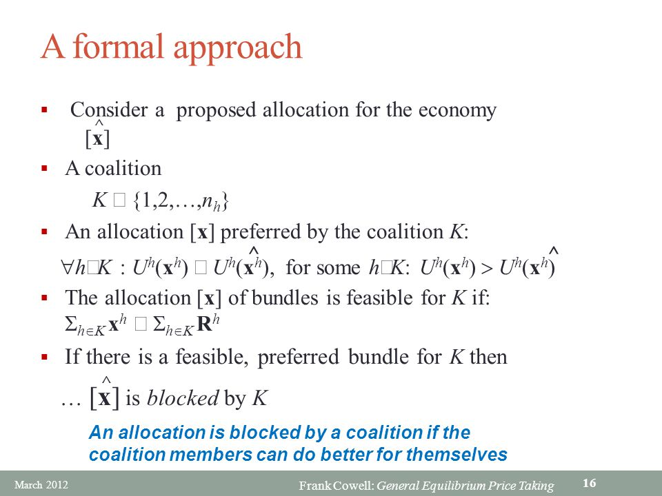 A formal approach If there is a feasible, preferred bundle for K then