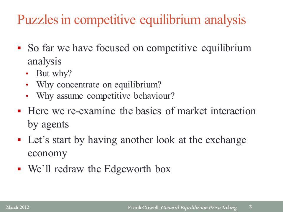 Puzzles in competitive equilibrium analysis