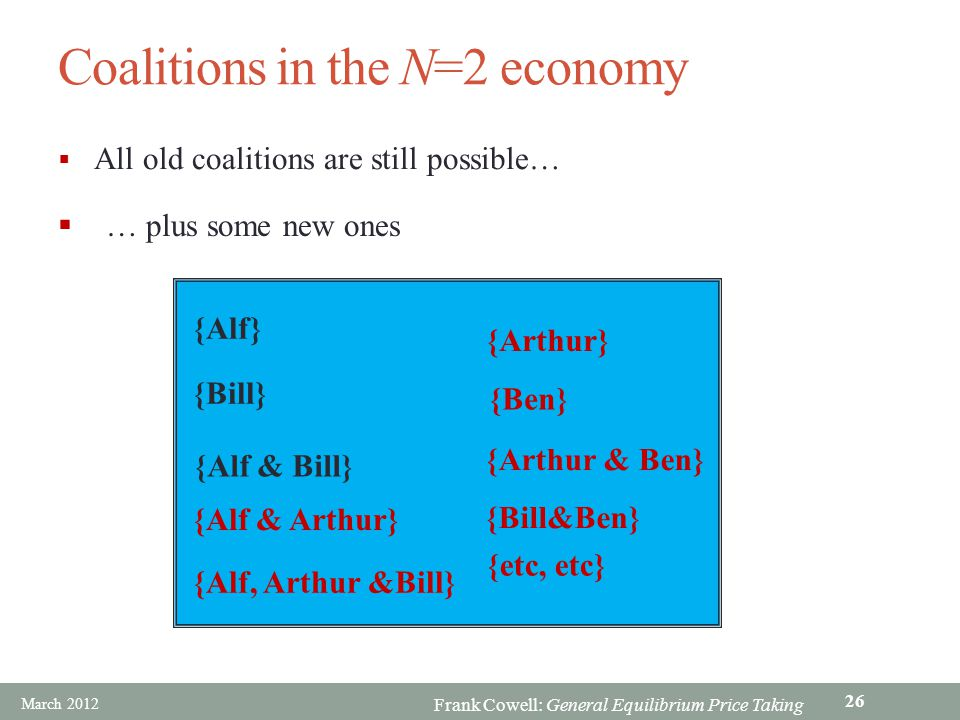 Coalitions in the N=2 economy