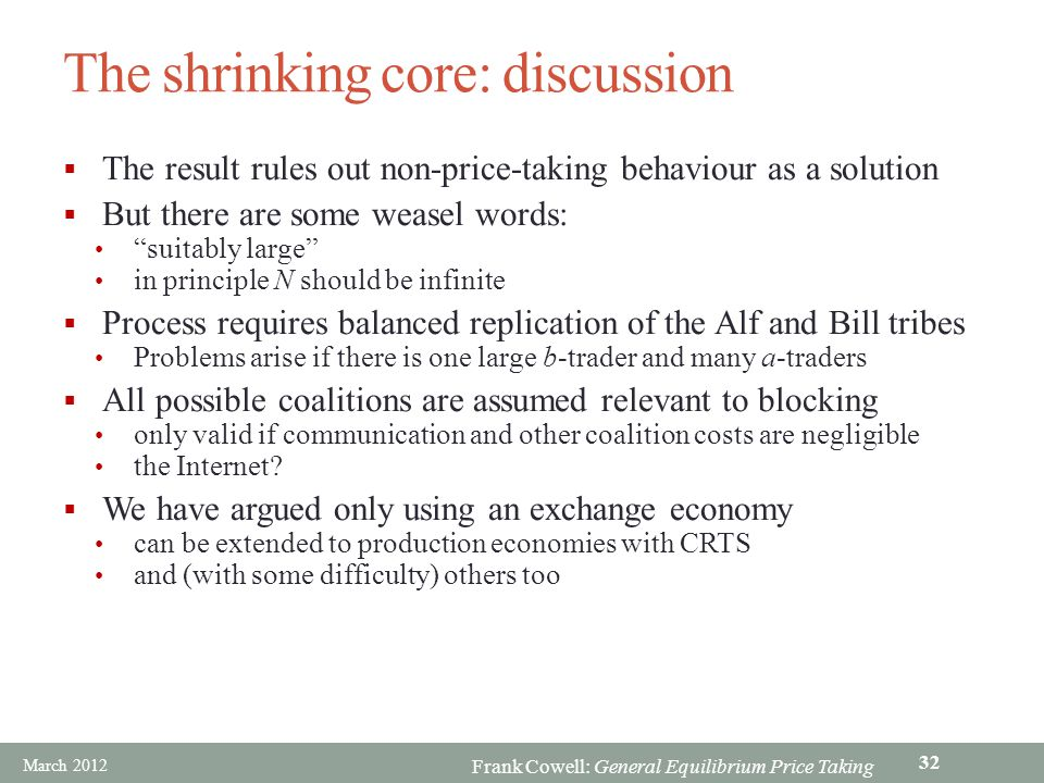 The shrinking core: discussion