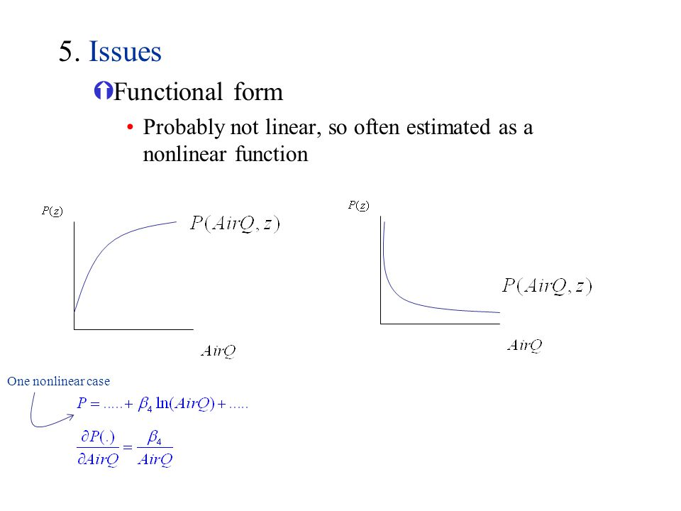 5. Issues Functional form