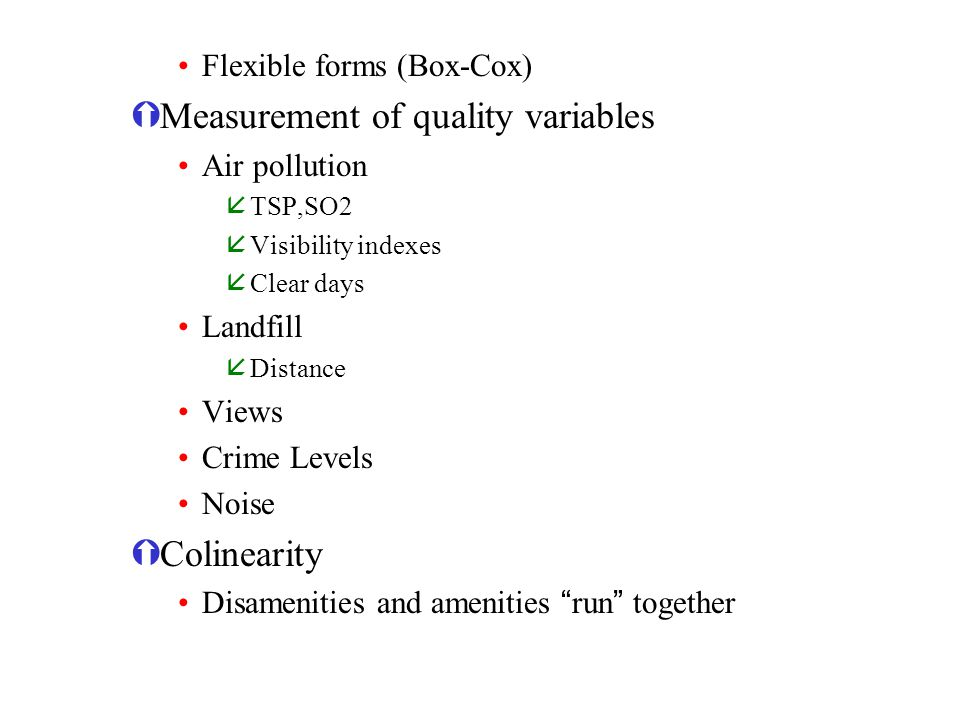 Measurement of quality variables