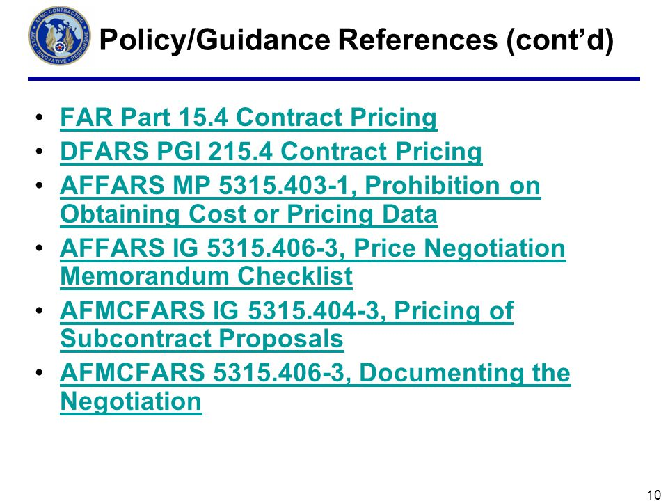 Policy/Guidance References (cont'd)