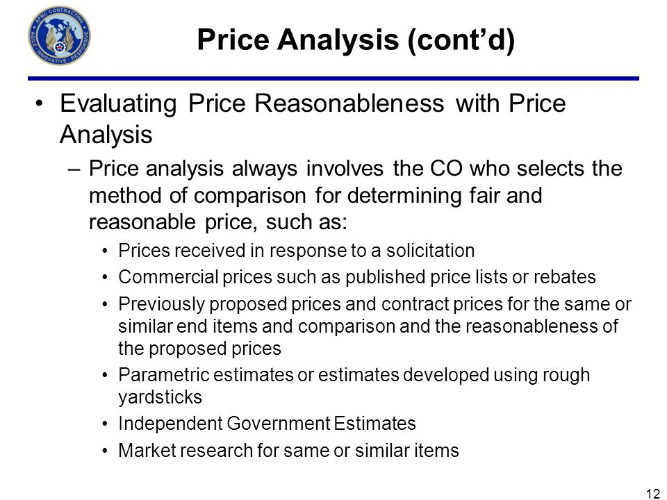 Price Analysis (cont'd)