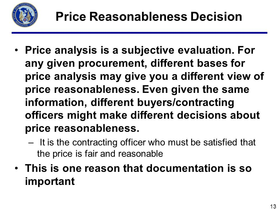 Price Reasonableness Decision