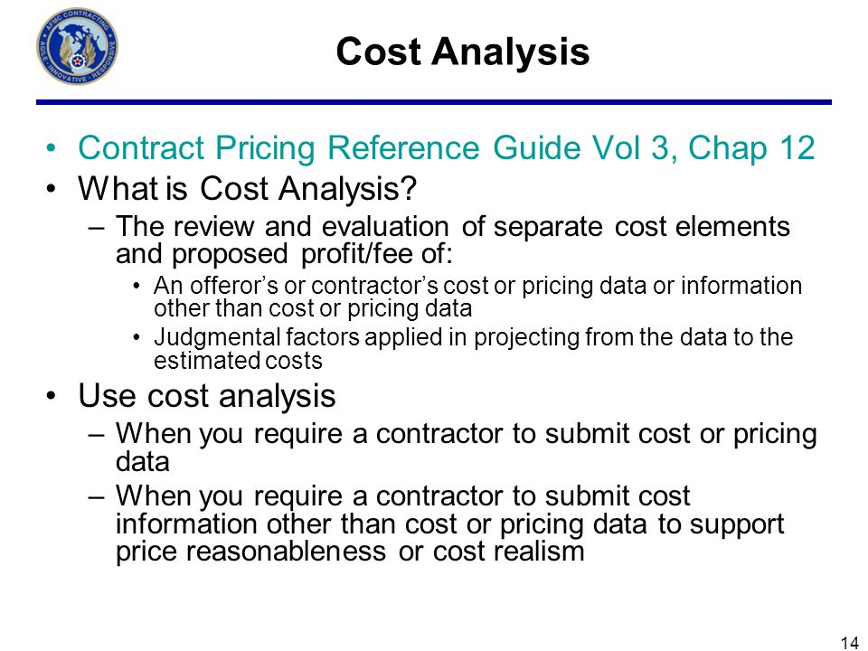 Cost Analysis Contract Pricing Reference Guide Vol 3, Chap 12