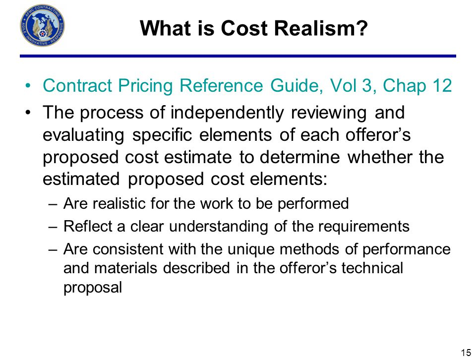 What is Cost Realism Contract Pricing Reference Guide, Vol 3, Chap 12