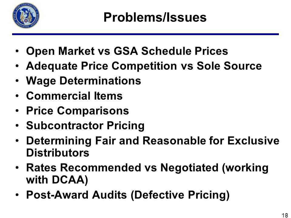 Problems/Issues Open Market vs GSA Schedule Prices