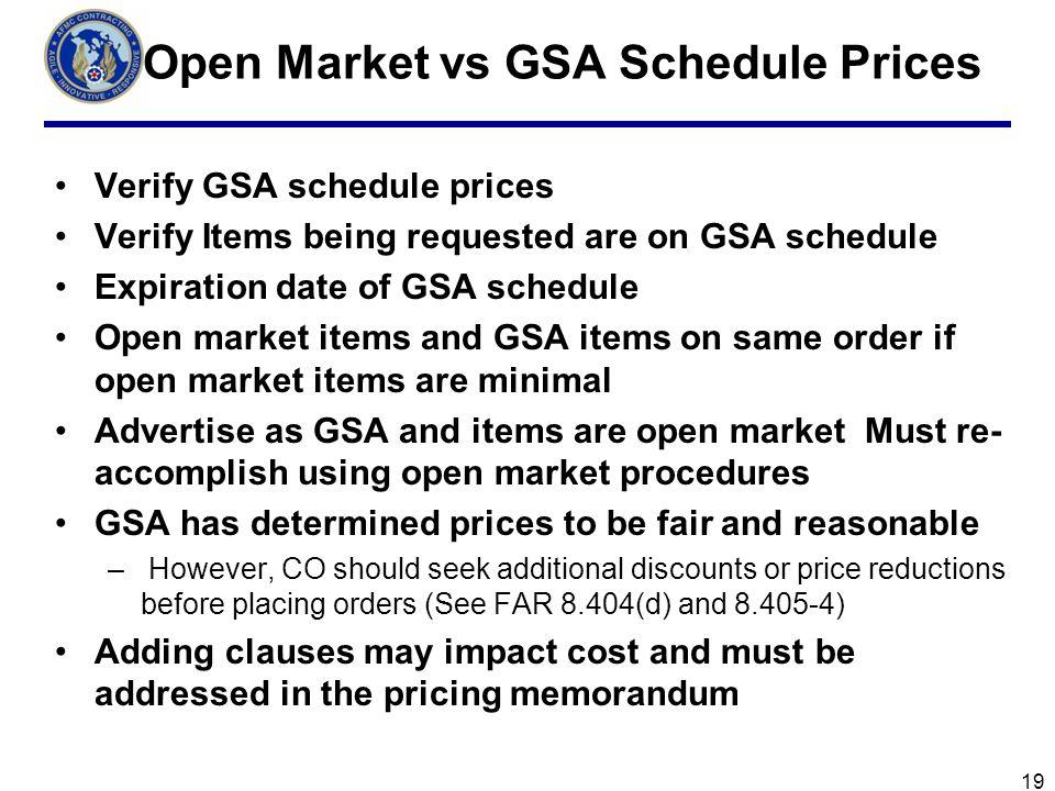 Open Market vs GSA Schedule Prices