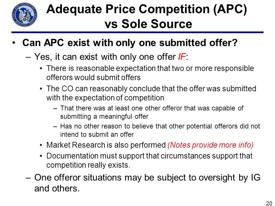 Adequate Price Competition (APC) vs Sole Source