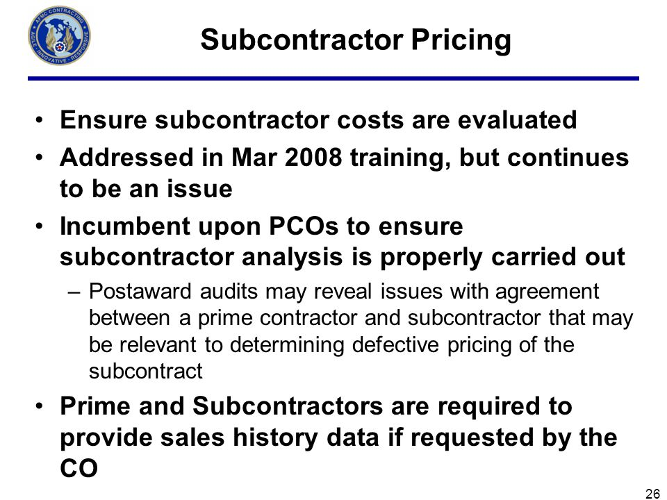 Subcontractor Pricing