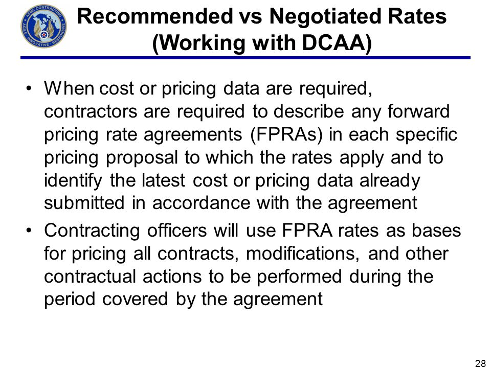 Recommended vs Negotiated Rates (Working with DCAA)