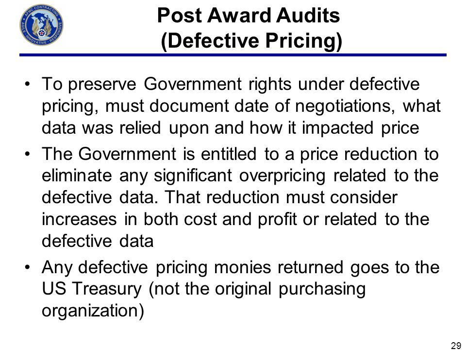 Post Award Audits (Defective Pricing)