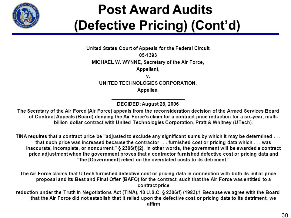 Post Award Audits (Defective Pricing) (Cont'd)
