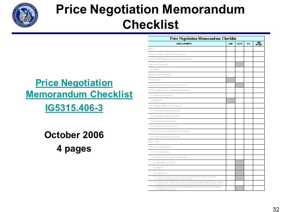 Price Negotiation Memorandum Checklist