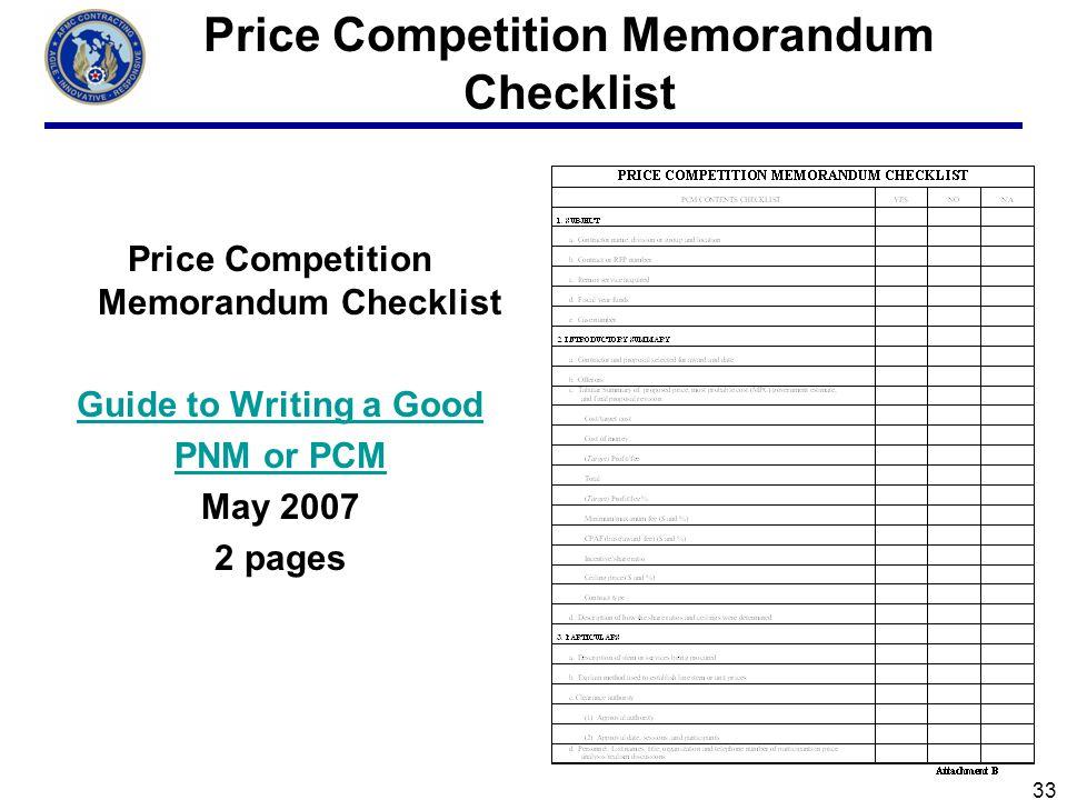 Price Competition Memorandum Checklist