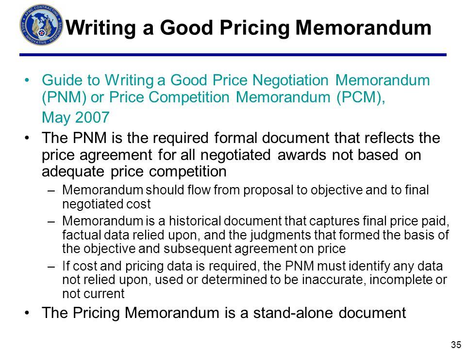 Writing a Good Pricing Memorandum