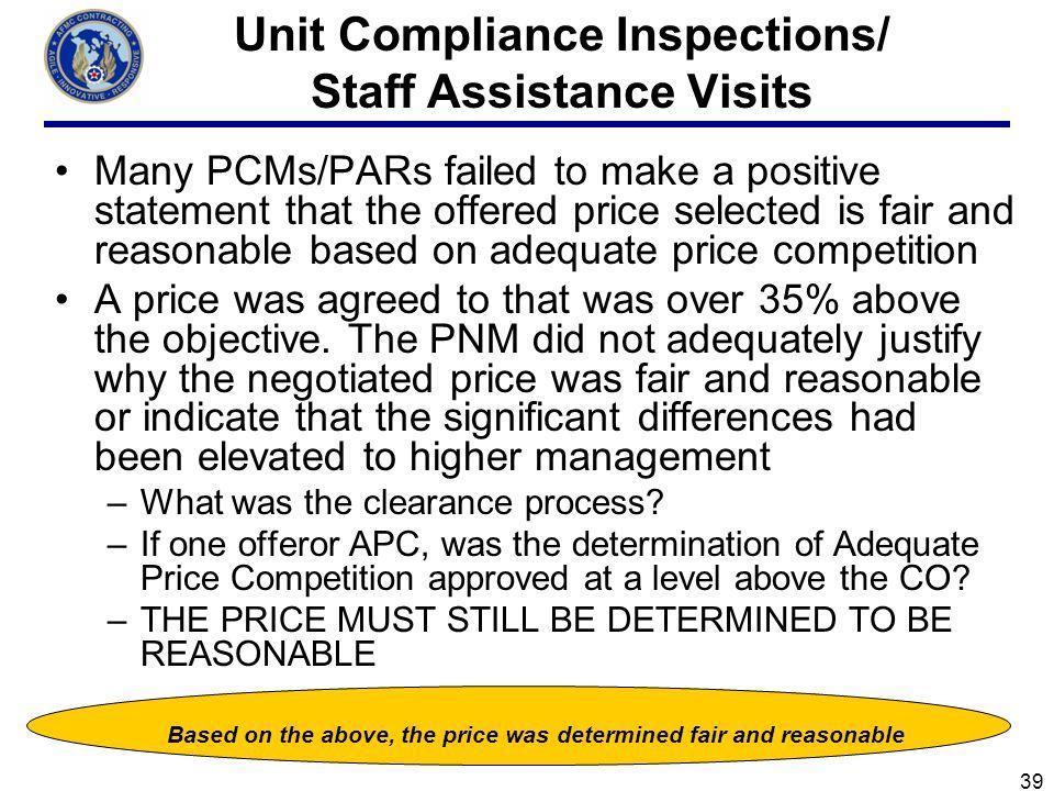 Unit Compliance Inspections/ Staff Assistance Visits