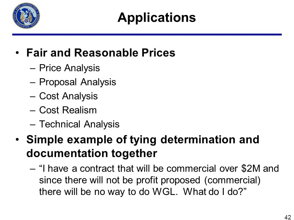 Applications Fair and Reasonable Prices