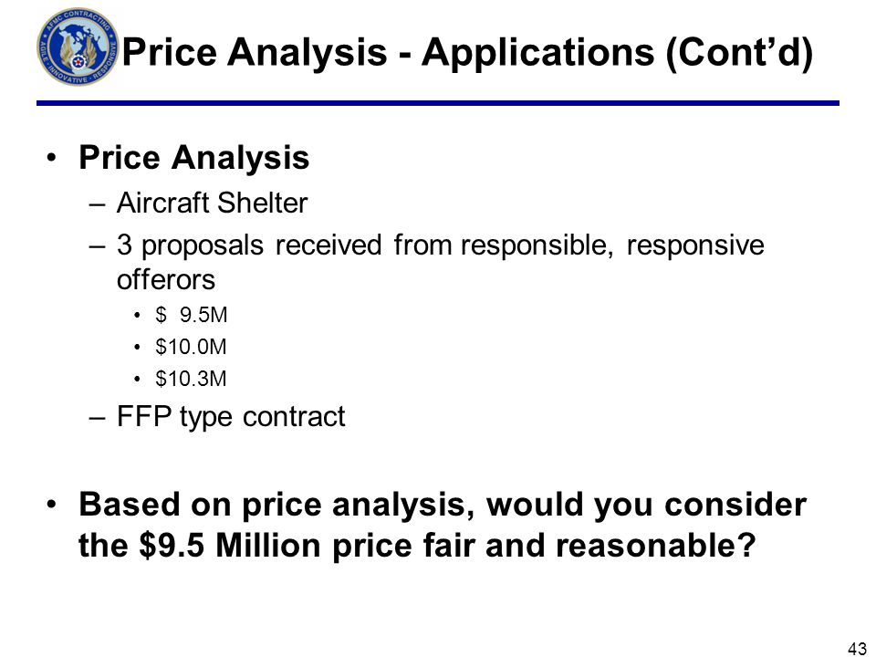Price Analysis - Applications (Cont'd)