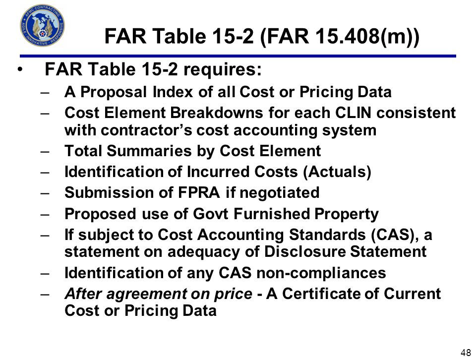 FAR Table 15-2 (FAR 15.408(m)) FAR Table 15-2 requires: