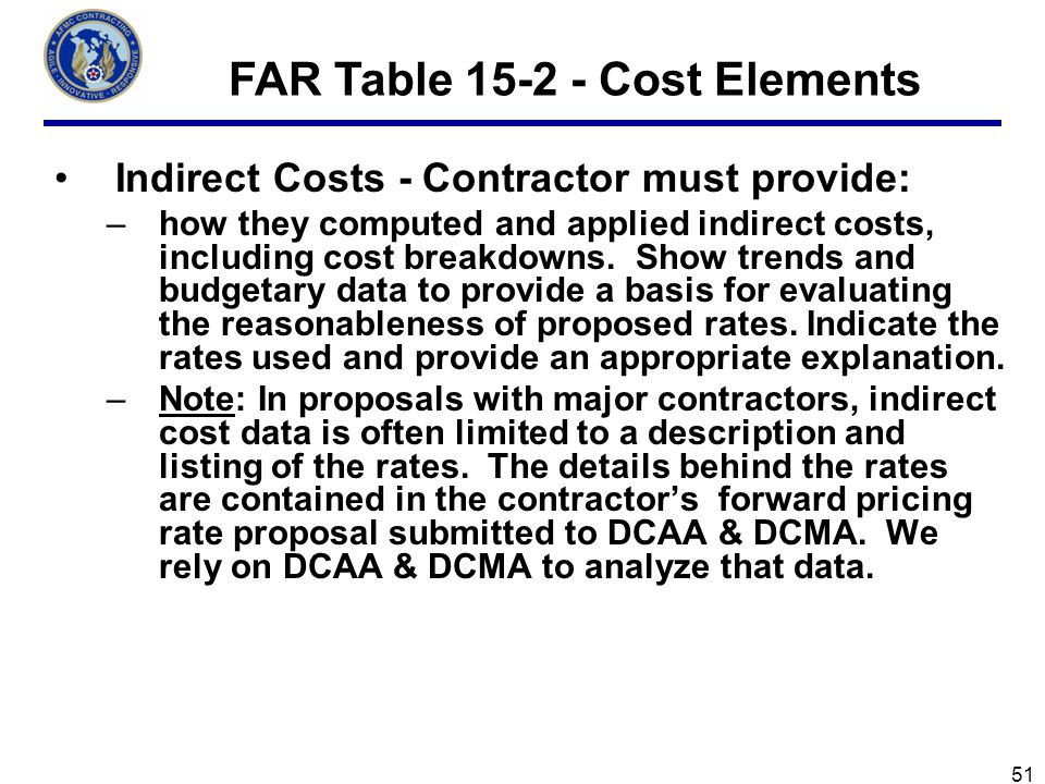 FAR Table 15-2 - Cost Elements