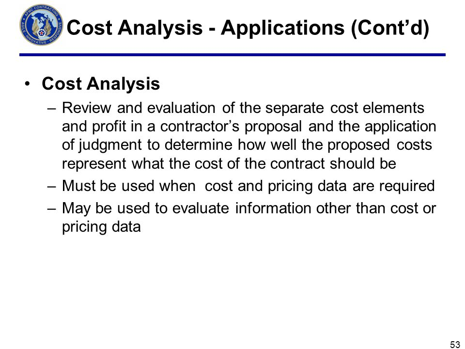 Cost Analysis - Applications (Cont'd)