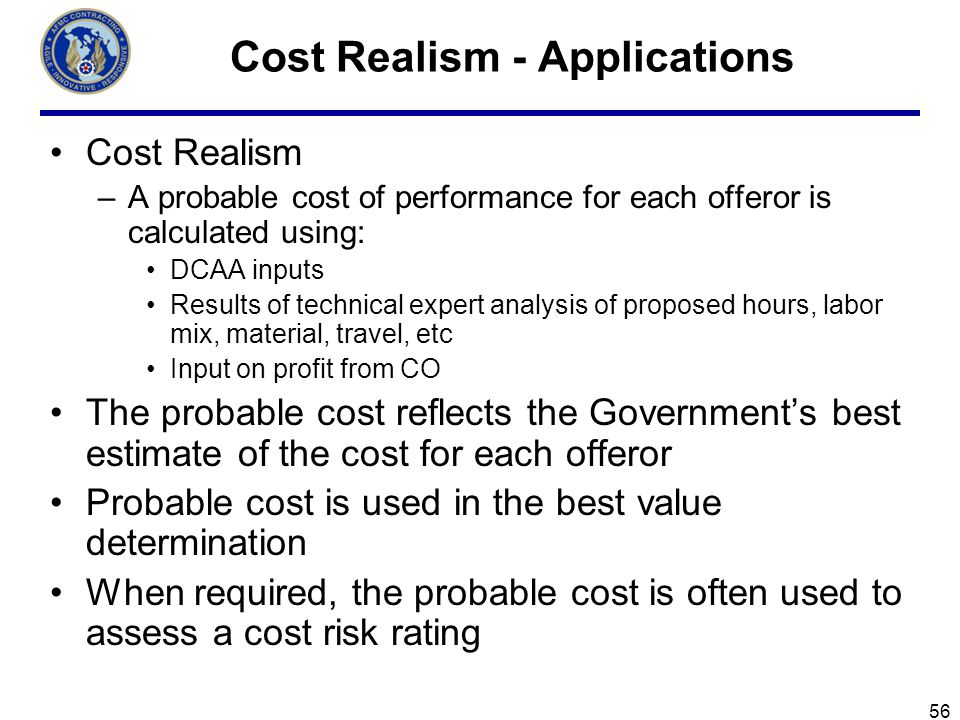 Cost Realism - Applications