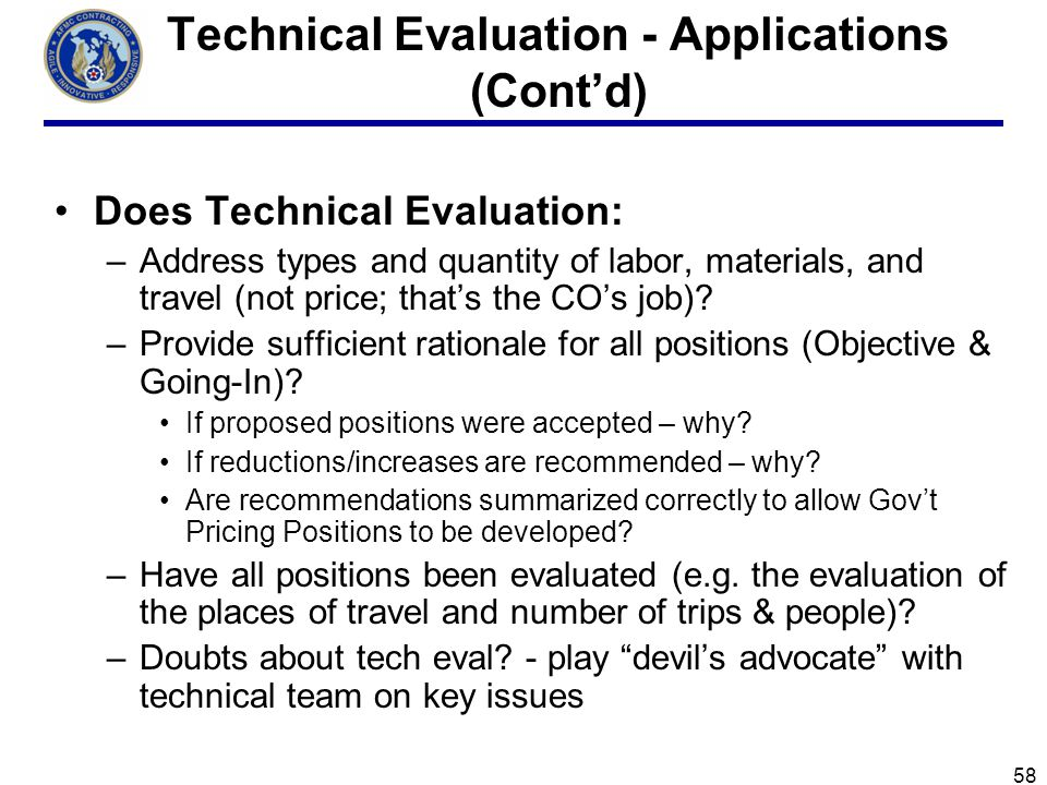 Technical Evaluation - Applications (Cont'd)