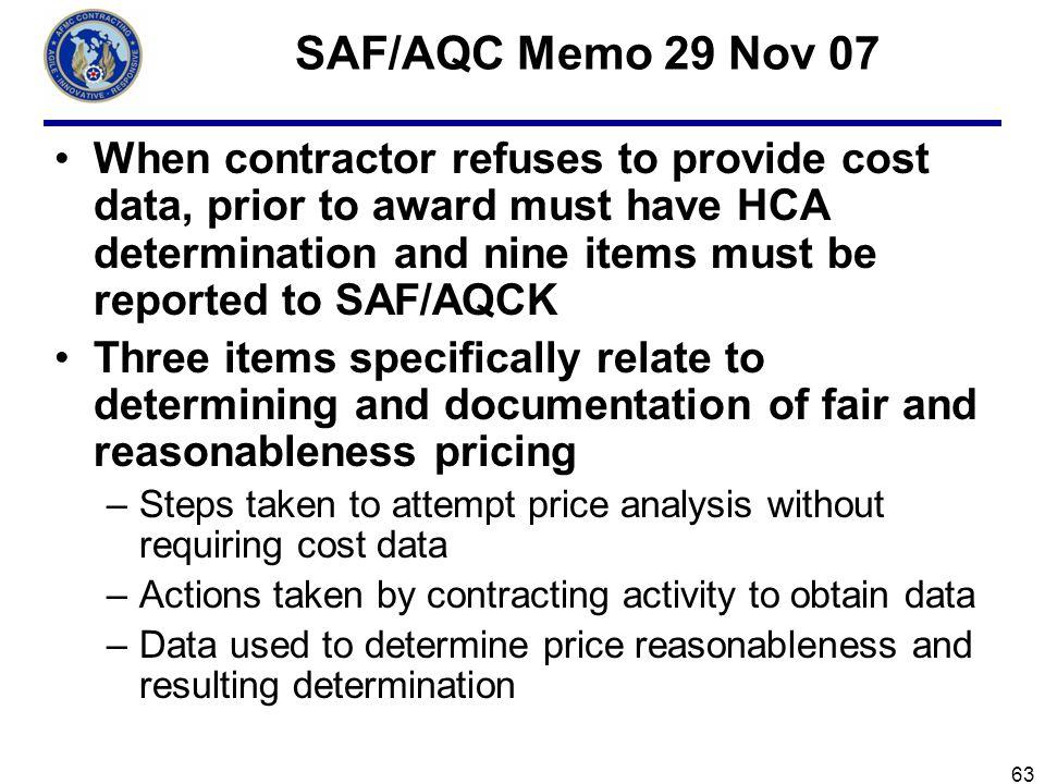 SAF/AQC Memo 29 Nov 07