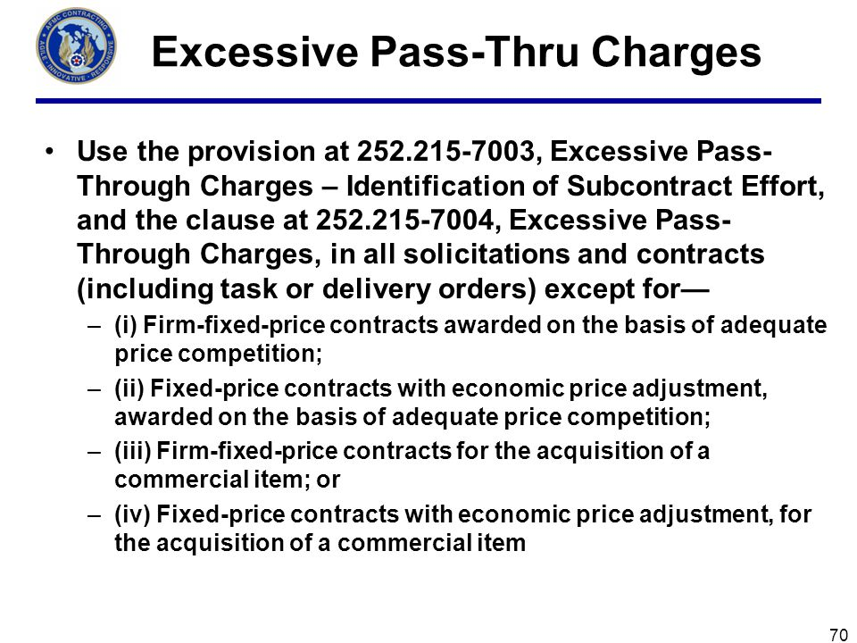 Fixed elements of a Pass-Through contract