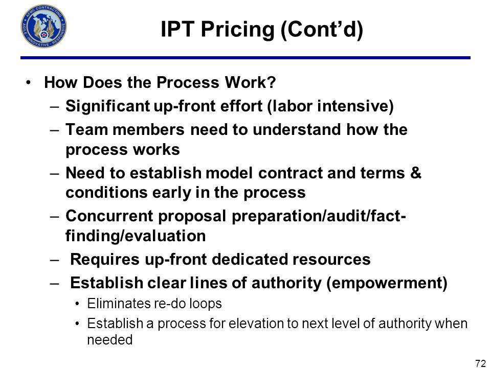IPT Pricing (Cont'd) How Does the Process Work