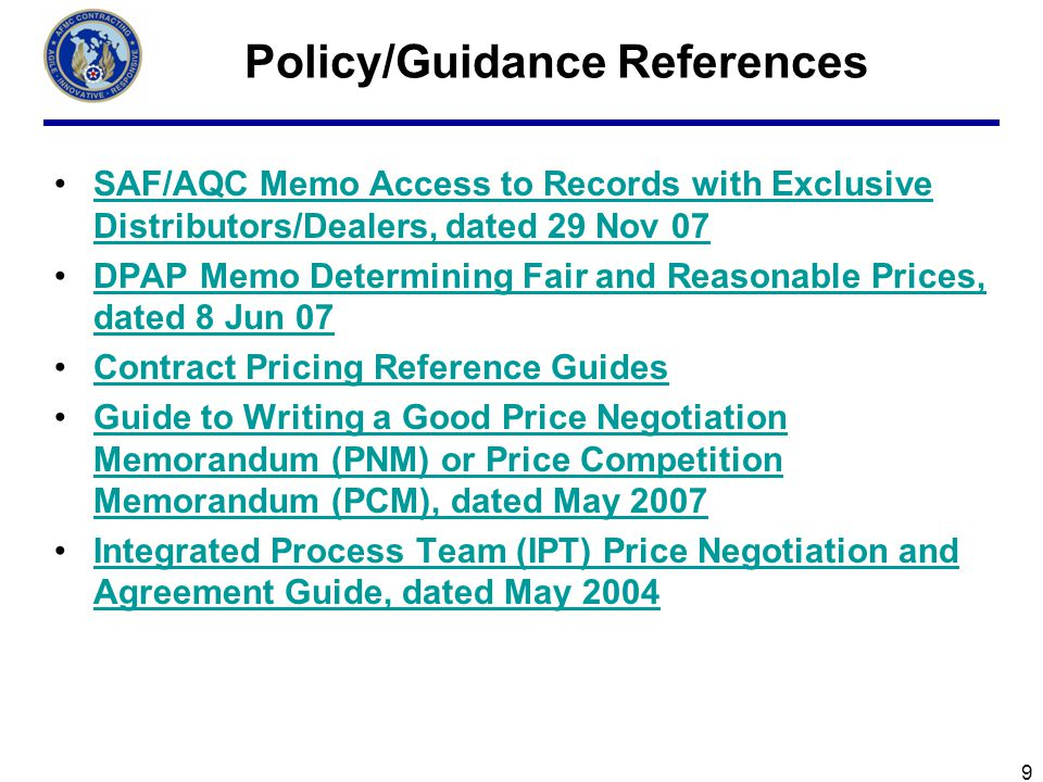 Policy/Guidance References