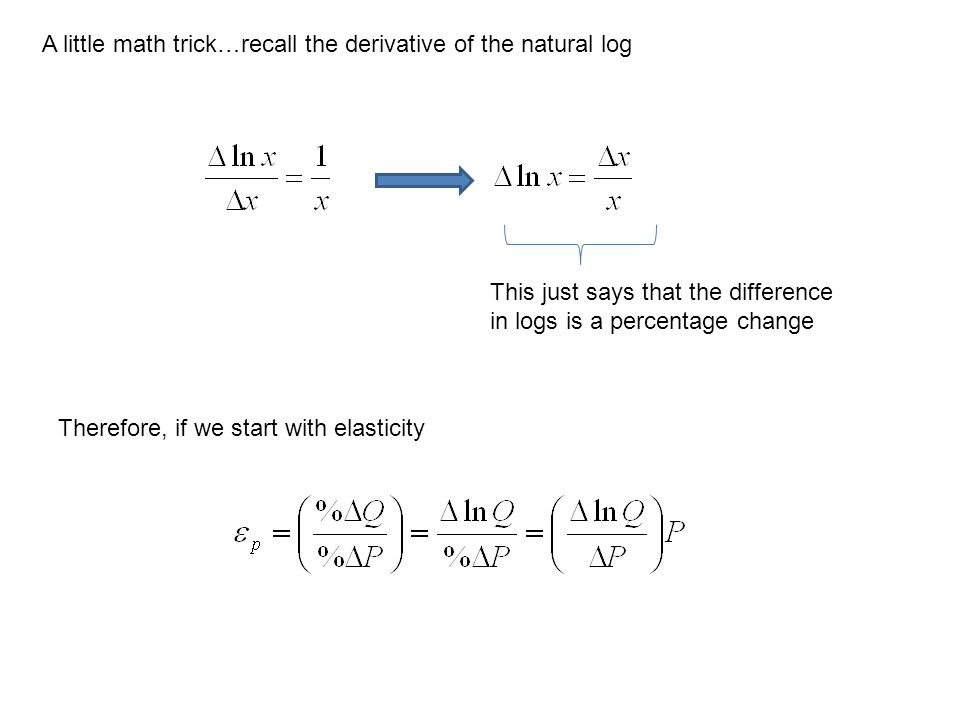 A little math trick…recall the derivative of the natural log