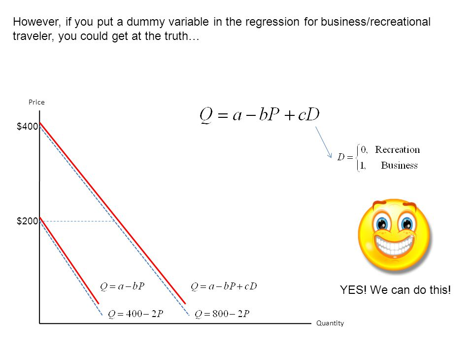 However, if you put a dummy variable in the regression for business/recreational traveler, you could get at the truth…