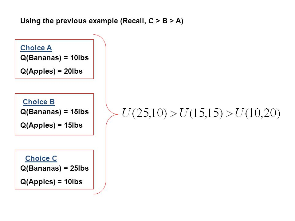Using the previous example (Recall, C > B > A)