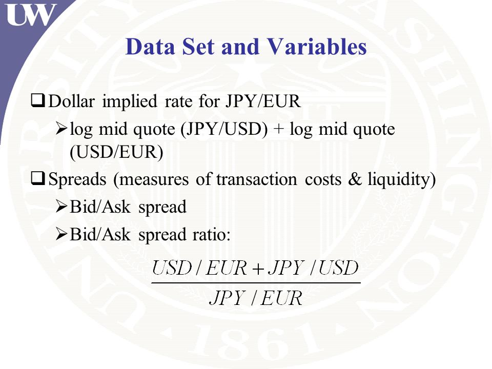 Data Set and Variables Dollar implied rate for JPY/EUR