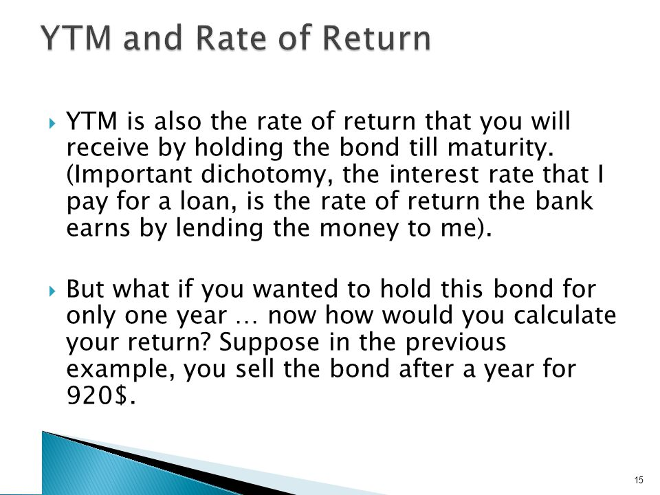 YTM and Rate of Return