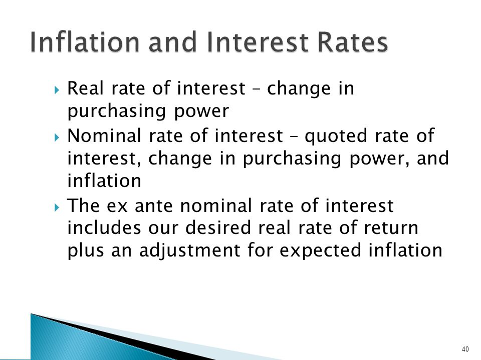 The Fisher Effect The Fisher Effect defines the relationship between real rates, nominal rates, and inflation.