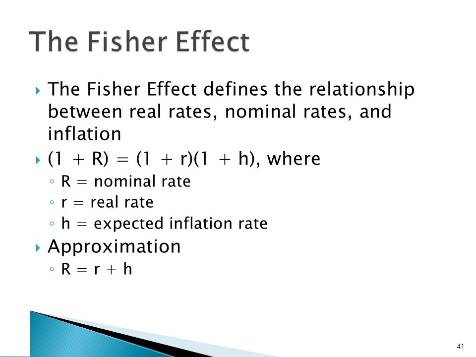 Example 7.5 If we require a 10% real return and we expect inflation to be 8%, what is the nominal rate