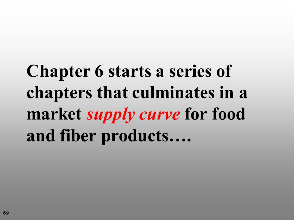 Chapter 6 starts a series of chapters that culminates in a market supply curve for food and fiber products….