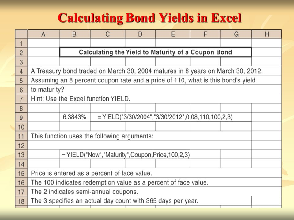 Calculating Bond Yields in Excel
